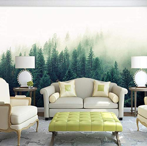 3D vliesbehang fotobehang abstract 3D muur-natuur-mist-boom-boswandschilderij behang voor bank background 400*280 400 x 280 cm.