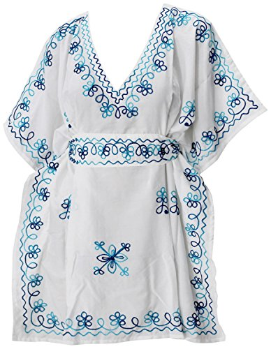 LA LEELA super weiche Rayon Frauen Kimono Badebekleidung Hand Bestickt tiefen Hals beiläufig Plus Größe 4 in 1 Strand-Bikini-Vertuschung Tunika Lounge Basic Kleid Kaftan blau Floren