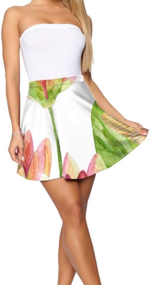 Liaosax Skater Skirt for Girls Beautiful Flowers and Dragonflies Flared Skirt for Women Women's Basic Casual Mini Skirt for Women S-XL