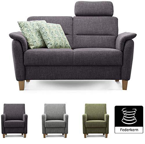 Cavadore 2er Sofa Palera mit Federkern, Couch 2-sitzig passend zu Sofagarnitur Palera, 149 x 89 x 89, stoff anthrazit