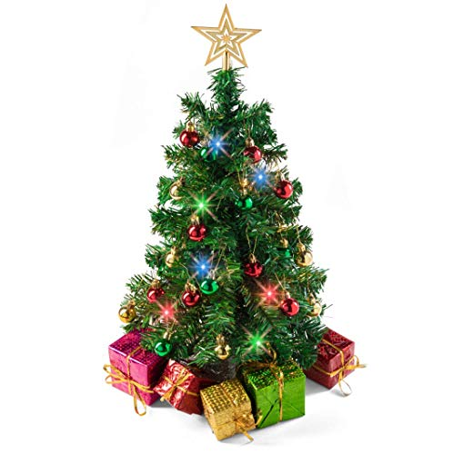 Prextex 23-Inch DIY Tabletop Mini Christmas Tree with Multi-Color LED Lights, Star Treetop, Decorated Gift Boxes and Hanging Ornaments for DIY Christmas Decoration