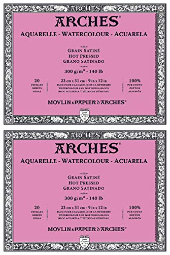 2-Pack - Arches Watercolor Block 140 Pound Hot Press Paper - 9 x 12-20 Sheets Each