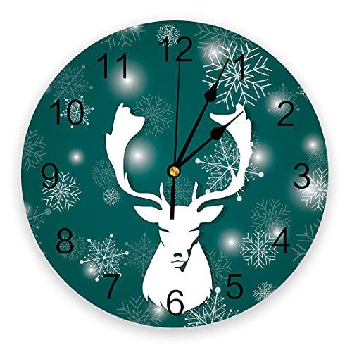 Frohe Weihnachten PVC Wanduhr, leise Nicht tickende runde Uhr, dekorative Wanduhren für Zuhause Wohnzimmer Küche 9,8x9,8 Zoll Schneefalke und Elchkopf Clip Art Grün
