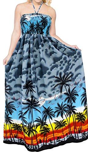LA LEELA Beachwear Costume da Bagno Scollo all'Americana Coprire Maxi Grigio Abito da Sera Lungo