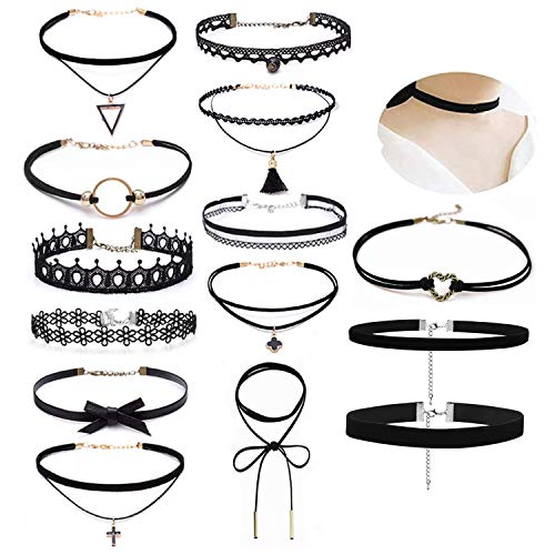 Aibada 14 PCS Black Choker Necklace for Women, Black Classic Velvet Stretch Gothic Tattoo Lace Choker For Women Girls Party Dress Decorations