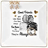 Kaidouma Friends Gift for Women, Birthday Gifts for Friend Female Ring Trinket Dish, Christmas Gifts for Best Friend Woman Jewelry Tray - Good Friends are Like Stars - You Don't Always See Them But You Know They're Always There