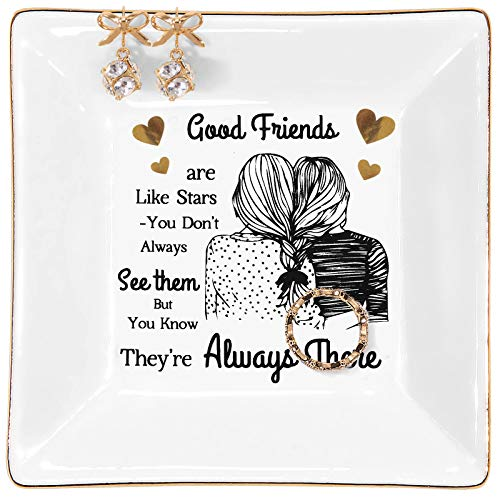 Kaidouma Friends Gift for Women, Birthday Gifts for Friend Female Ring Trinket Dish, Christmas Gifts for Best Friend Woman Jewelry Tray - Good Friends are Like Stars - You Don't Always See Them B...