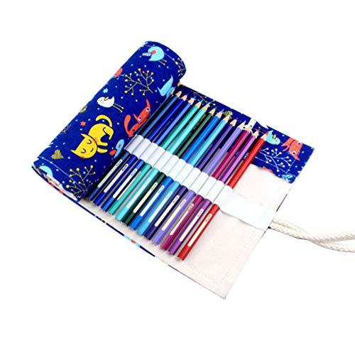 NUOBESTY astuccio per matite in tela astuccio portamatite modello cervo portatile fatto a mano a maglia arrotolata astuccio arrotolatore organizer con 48 fessure (gatto)