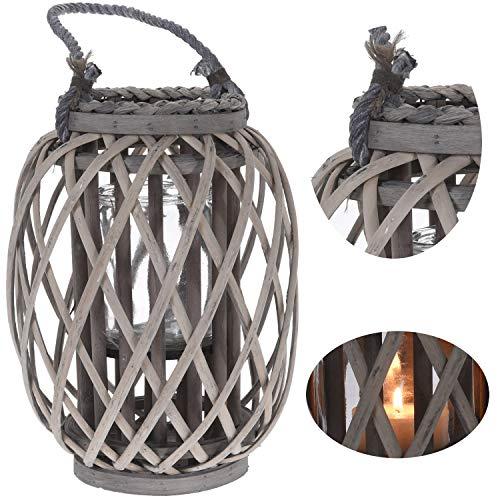 LS-LebenStil XL Holz Garten-Laterne Windlicht Glaseinsatz Braun Henkel Kerzenständer Rattan-Look 30x21cm