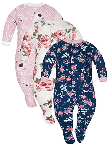 Sibinulo Niño Niña Peleles Mamelucos, Pijama Tamaños 3 Meses a 6 Meses, Pack de 3 Rosas Blancas y Azul, Osos Rosados 68