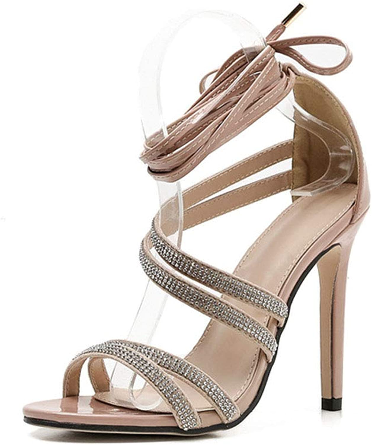 XDLEX Women's Bling Strappy Heeled Sandals Gladiator Stiletto Open Toe Pointy Toe Ankle Lace up Roman Pumps Glitter Embellished Rhinestone Cover Belts Heels
