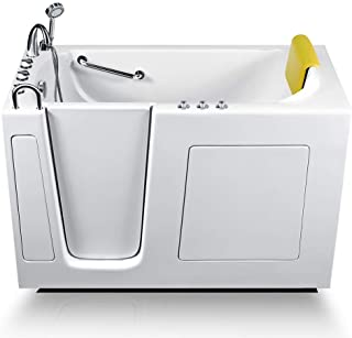 Energy Tubs Walk-in Bathtub 30 in. x 60 in. Luxury Whirlpool Massage + Faucet Set (White) (Left Drain)