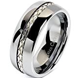 8mm Men's Tungsten Carbide Ring Silver Rope Inlay Wedding Band Size 8-12 Comfort Fit (9)