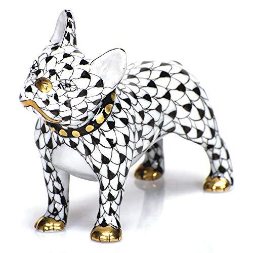 Herend Puppy Dog Frenchie Porcelain Figurine Black Fishnet