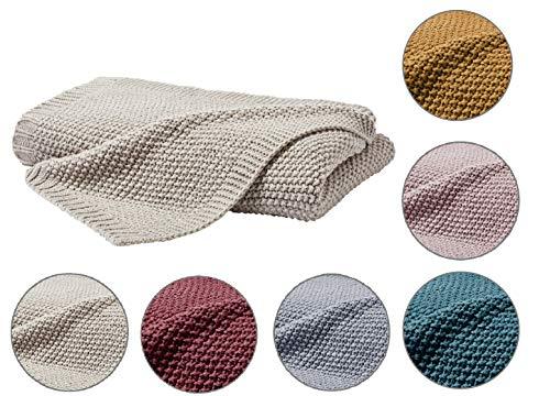 Kuscheldecke Strick 140x190 cm beige - Strickdecke OekoTex warme weiche Decke Herbst-Winter-Kollektion 19/20 Geschenk