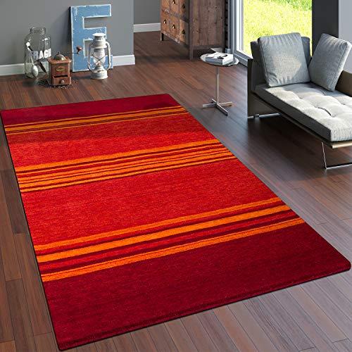 Paco Home Teppich Handgewebt Gabbeh Qualität 100% Wolle Streifen Meliert Terrakotta, Grösse:200x300 cm