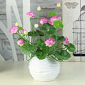Artificial and Dried Flower Artificial Silk Water Lily Small Mini Lotus Decoration Living Room Hotel Cute Home Office for Artificial Lotus