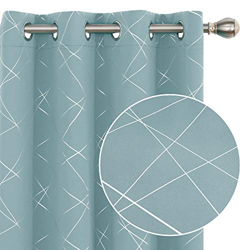 Deconovo Blackout Curtains 84 Inches Length 2 Panels Geometric Line Foil Print Thermal Insulated Energy Saving Window Curtains for Living Room - 2 Panels, Each 52x84 Inch Sky Blue