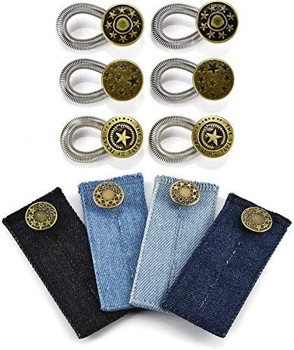 Bundknopf Extender Set Jeans Hosenerweiterung Bunderweiterung Wunderknöpfe Hose Knopf Verlängerung Hosenverlängerung Metall Knopf Kragen Extender Taille Elastik für Hose (B)