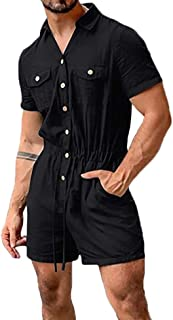 huateng Men's Fashion Jumpsuit Summer Single-Breasted Drawstring One Piece Shorts Romper Playsuit