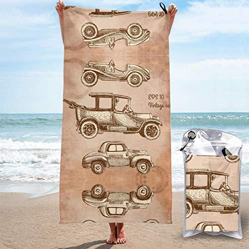 Toallas de Playa sin Arena Juego de Autos Antiguos Toallas de Playa de Secado rápido Toalla de baño Toalla de Playa de Viaje, Toalla Deportiva de natación para Mujeres Hombres Accesorios de Playa