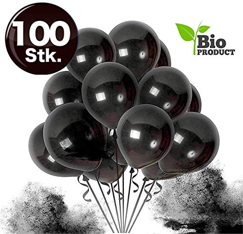 TK Gruppe Timo Klingler 100x Luftballons Ø 35 cm - 100% Bio Luftballon Ballons Balloons Luftballon Ballon schwarz Latexballons für Helium & Luft - Dekoration Hochzeit Hochzeitsdeko (100x schwarz)