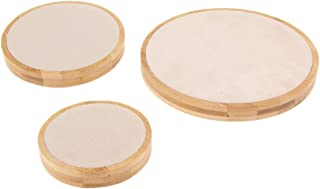 Baosity 3 Pieces Round Jewelry Display Stand with Microfiber for Exhibition Necklace Earrings Display Holder Bracelet Accessories - Beige