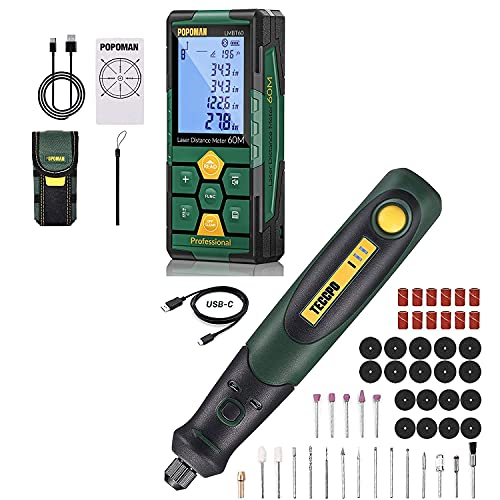 Laser Distance Measure, Rechargeable with Bluetooth, 196ft Laser Tape Measure + TECCPO 3.7V Cordless Rotary Tool kit, 3-Speed with 50 Accessories , USB-C charging, Multi-Purpose Power Tool