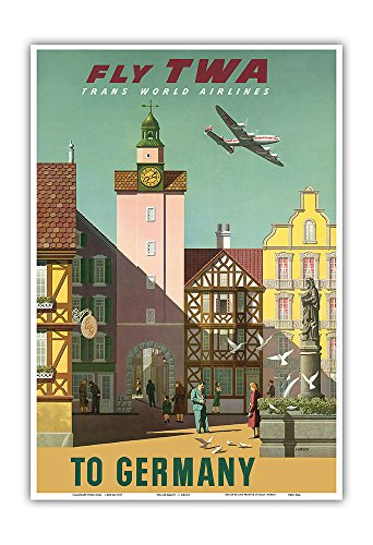 Pacifica Island Art Germany - Fly TWA Trans World Airlines - Vintage Airline Travel Poster by S. Greco c.1950s - Master Art Print - 13in x 19in -  Pacifica Island Art, Inc., PRTC3066