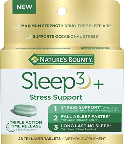 Stress Support Melatonin by Nature's Bounty, Sleep3 Maximum Strength 100% Drug Free Sleep Aid, Dietary Supplement with Ashwagandha, Time Release Technology, 10mg, 28 Tri-Layered Tablets