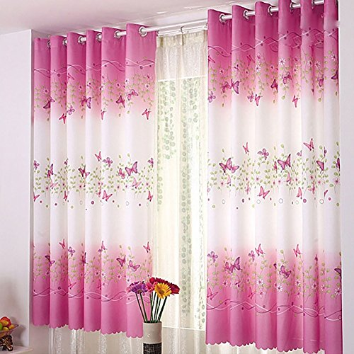 ROKFSCL Fenstervorhang, 200 cm x 100 cm, Schmetterling-Blumen, bedruckt, für Kinderzimmer, Kinderzimmer, 200 x 100 cm, 1 Stück