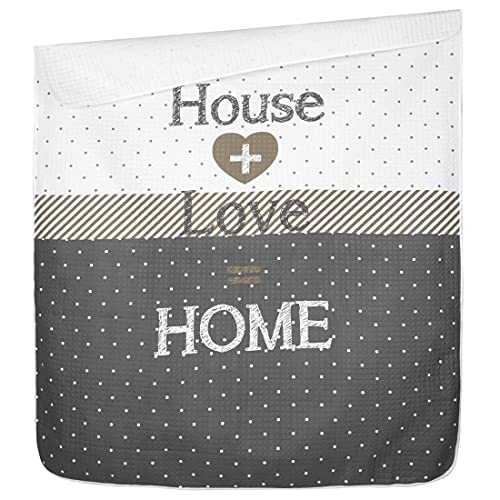 Eurofirany Tagesdecke 220x240 cm Logan Home Sweet Love Steppung Karomuster Grau Weiß Beige Bettüberwurf Decke