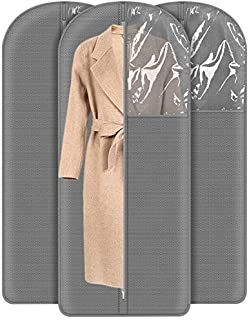 UUJOLY Garment Bag Garment Covers with Large and Clear Window Full Zipper Garment Bag for Travel, Dresses and Dance Costumes, Uniform and Closet Storage, Gray (Pack of 3, Lengthen)