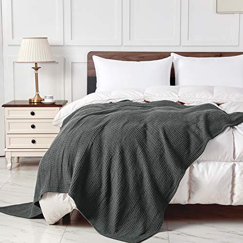 softan Cotton Thermal Blanket – Ultra morbido e caldo – Coperta a nido d'ape per divano letto e soggiorno – tutte le stagioni – 160 x 130 cm grigio