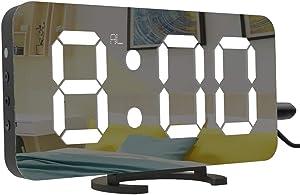 Cynthia 6.5 Pulgadas Grande LED Digital Reloj Despertador con Puerto USB para Cargador de teléfono, Toque Activado Snooze y Dimmer