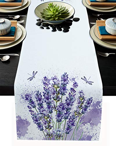 SUN-Shine Romantic Blooming Flowers Purple Lavender with Dragonfly Linen Burlap Table Runner Dresser Scarves, Table Runners for Family Dinner Holiday Party Kitchen Tabletop Decor White 18x72In