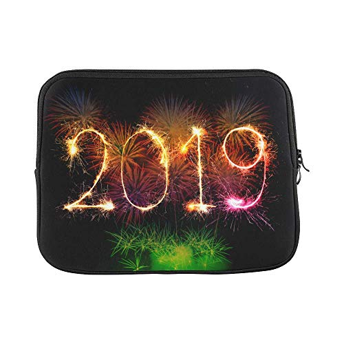 InterestPrint Happy New Year 2019 Colorful Fireworks Light up The Sky Laptop Sleeve Case Waterproof Neoprene Notebook Bag 13 13.3 Inch for Women Men