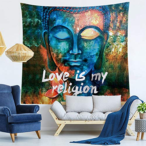 SKYROPNG Tapestries Wall Hanging,Bohemian Mandala Psychedelic Hippie Tapestry,Vintage Buddha Statue,3D Print Wallpaper Mural,for Bedroom Dorm Living Room Multifunction Decoration,100Cm X 150Cm