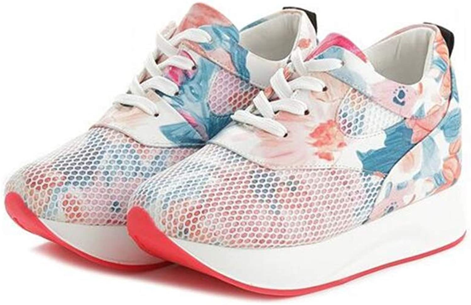Gcanwea Fashion Women Height Increasing Waterproof Wedges Sneakers Pu Leather Printing Platform Casual shoes No Grinding Feet with Dress Pink 4.5 M US Casual shoes