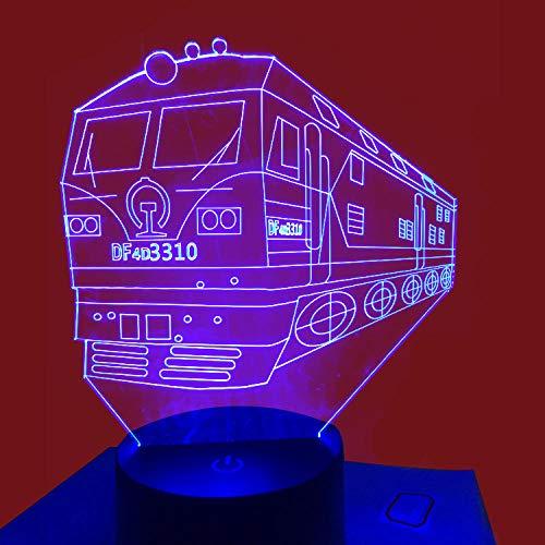 Train Colourful 3D Nachtlampe USB-Schnittstelle Kreative Lampe 3D maßgeschneiderte Versetzungs-Schreibtischlampe-Sieben Farben berühren die Fernbedienung