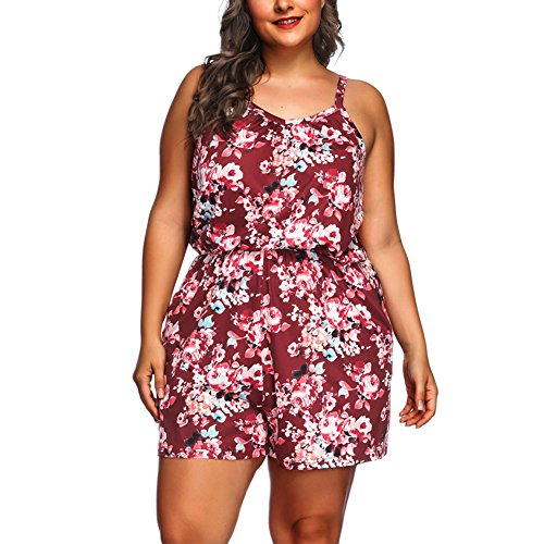Lover-Beauty Damen Shorts High Waist Jumpsuit Casual Blumen