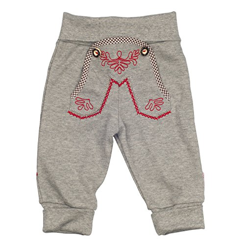 Eisenherz Babyhose Jogginghose in grau für Bub und Mädchen mit schönen Stickereien elastischem Bund - süßer Trachtenlook in Größe 98-104