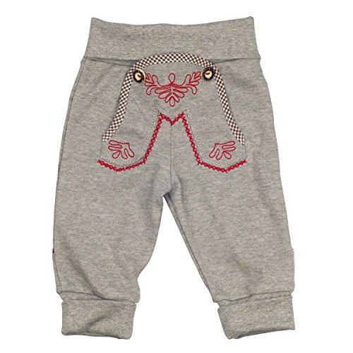 Eisenherz Babyhose Jogginghose in grau für Bub und Mädchen mit schönen Stickereien elastischem Bund - süßer Trachtenlook in Größe 74-80