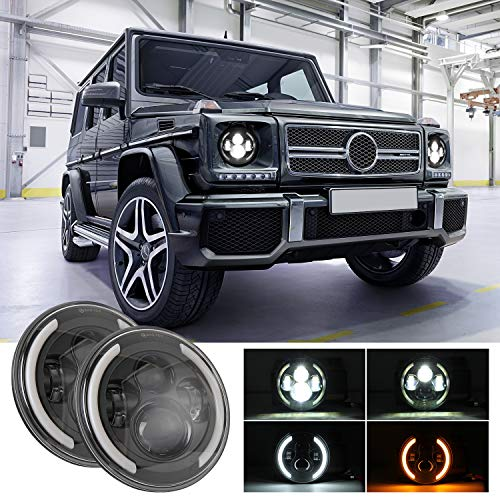 7In LED Round Headlight XTAUTO 150W White DRL(Halo Angel Eye Light) Amber Turn Signal Light High/Low Beam Replacement for Jeep Wrangler JK LJ TJ CJ Hummer Land Rover With H4 H13 Adapter 2 Packs