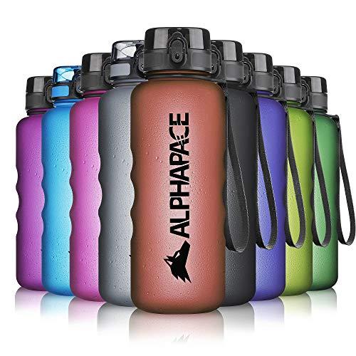 ALPHAPACE Trinkflasche, auslaufsichere 1.500 ml Wasserflasche, BPA-freie Flasche für Sport, Fahrrad & Outdooraktivitäten, Sportflasche mit Fruchteinsatz, in Dunkelrot