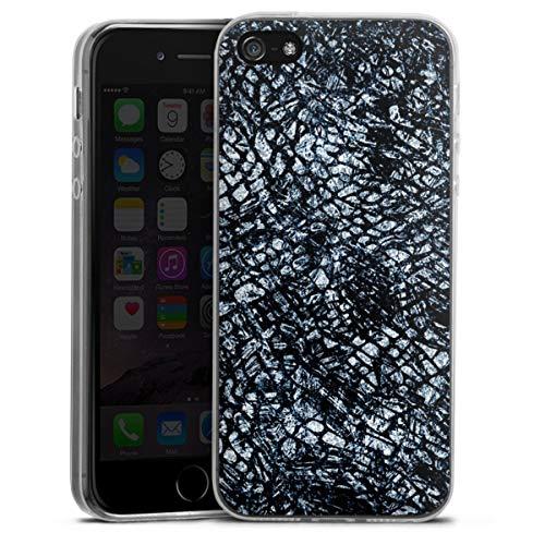DeinDesign Custodia sottilissima Compatibile con Apple iPhone 5 Custodia per Cellulare di Silicone Trasparente Cover Semplice Cuoio Serpente Glitter Look