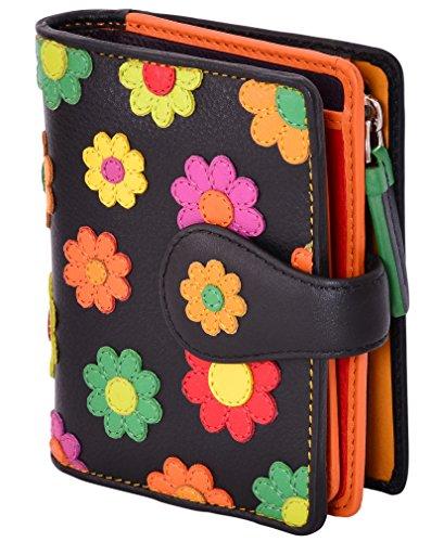 Visconti ® Leder Portemonnaie Damen RFID Schutz Geldbeutel Damen Geldbörse Bifold Mehrfarbig Portmonee in Geschenk-Box Daisy Purse (DS80)