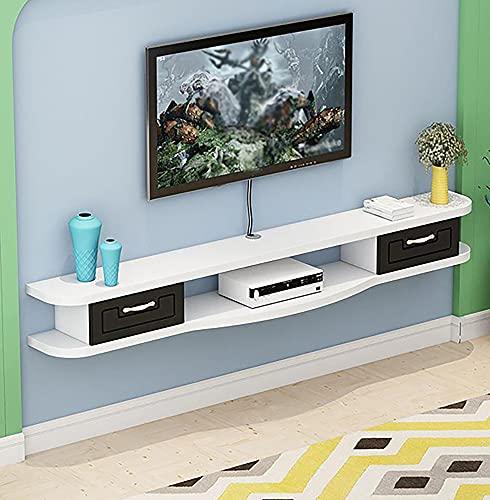 Mueble de TV Mesa Flotante,Soporte de TV Flotante con 2 Cajones, Consola de Medios de TV para Estante de Enrutador WiFi, Soporte para Decodificador/B/Los 140CM