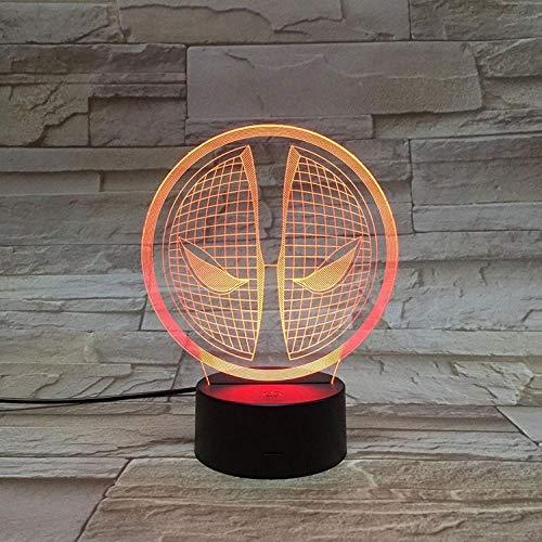 Illusionslampe 3D Nachtlicht Deadpool Halbkörper Führte Bunte Touch Gradient Farbe Dekorative Tischlampe-Bluetooth-Lautsprecher Schwarze Basis_Totes Schwimmbad