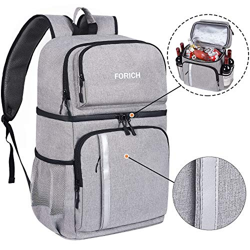 FORICH Insulated Cooler Backpack Double Deck Lightweight Leak Proof Backpack Cooler Bag Soft Lunch Backpack with Cooler Compartment for Men Women to Work Beach Travel Picnics Camping Hiking (Grey)